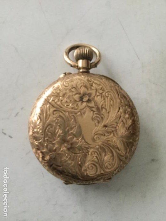Relojes de bolsillo: Reloj oro 14 kilates - 40 gramos aprox. - falta una tapa interior- funciona- 3 cm. - Foto 3 - 190520233
