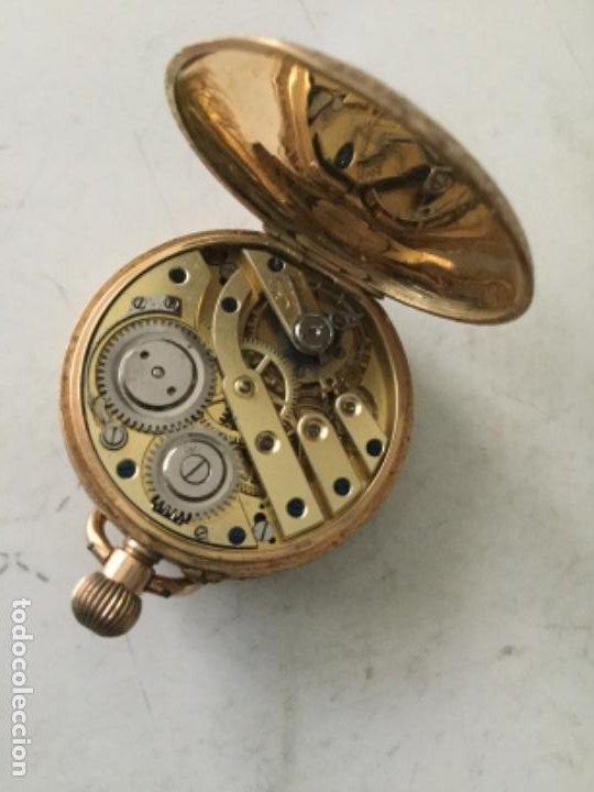 Relojes de bolsillo: Reloj oro 14 kilates - 40 gramos aprox. - falta una tapa interior- funciona- 3 cm. - Foto 2 - 190520233