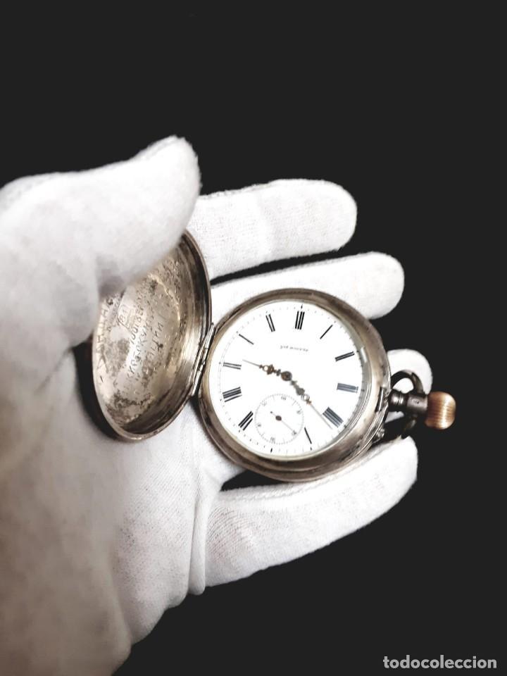 RELOJ DE BOLSILLO TAPAS PLATA QUALITE BOUTTE / HENRI LEUBA (Relojes - Bolsillo Carga Manual)