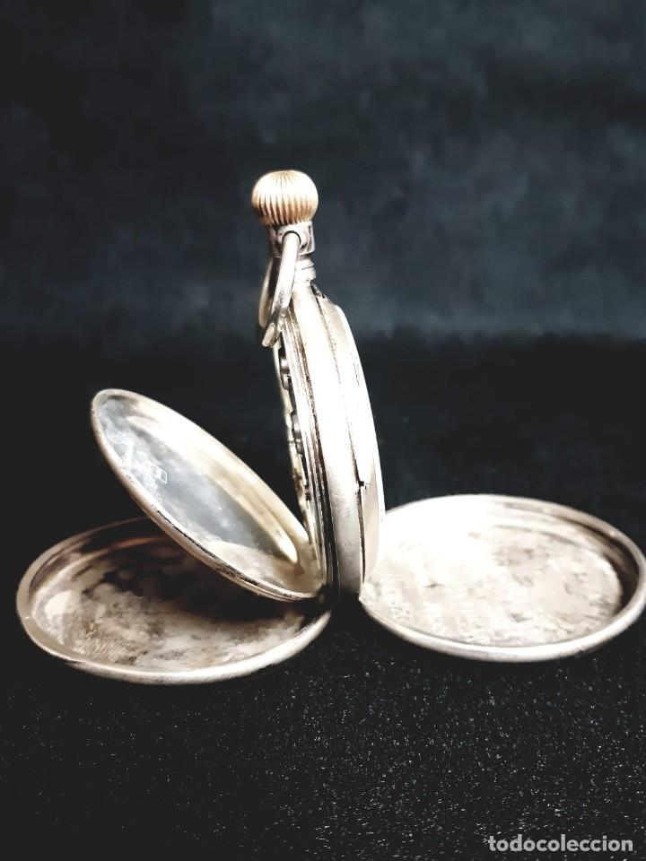 Relojes de bolsillo: RELOJ DE BOLSILLO TAPAS PLATA QUALITE BOUTTE / HENRI LEUBA - Foto 2 - 190875138