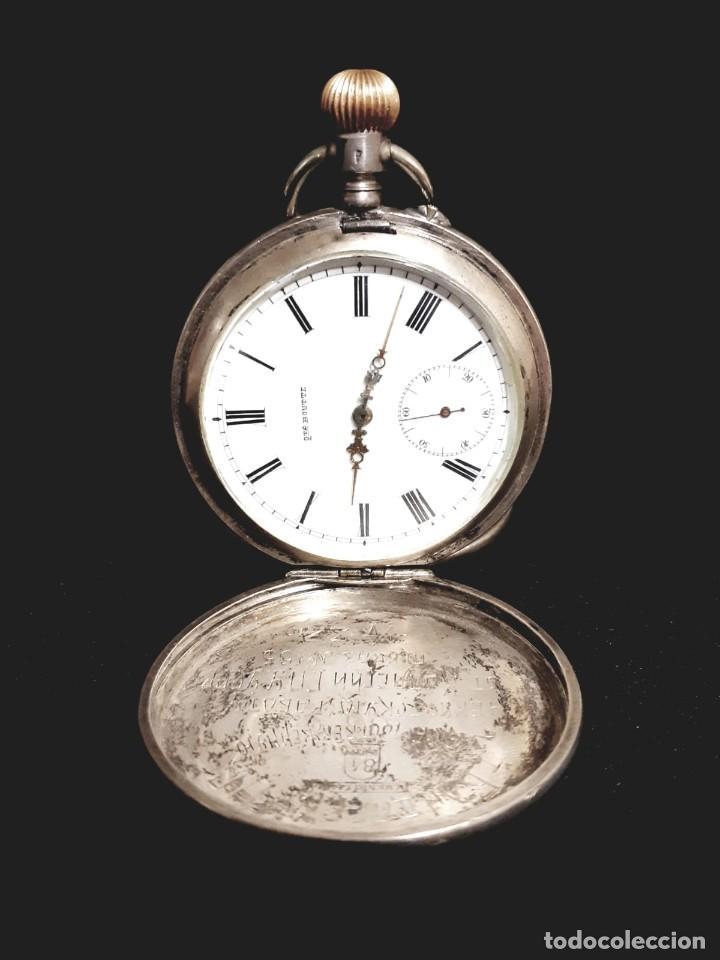 Relojes de bolsillo: RELOJ DE BOLSILLO TAPAS PLATA QUALITE BOUTTE / HENRI LEUBA - Foto 3 - 190875138