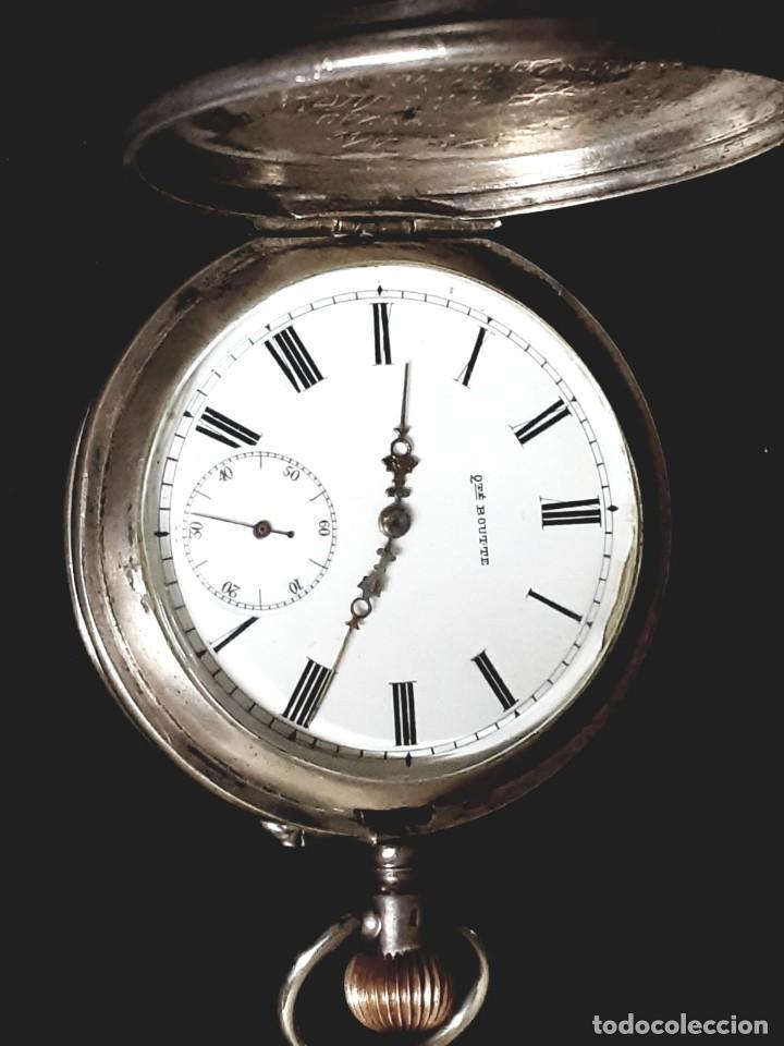 Relojes de bolsillo: RELOJ DE BOLSILLO TAPAS PLATA QUALITE BOUTTE / HENRI LEUBA - Foto 7 - 190875138