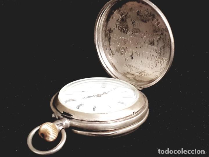 Relojes de bolsillo: RELOJ DE BOLSILLO TAPAS PLATA QUALITE BOUTTE / HENRI LEUBA - Foto 8 - 190875138