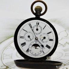 Relojes de bolsillo: RELOJ DE BOLSILLO 5 ESFERAS CON FASE LUNAR-CALENDARIO-CIRCA 1900-FUNCIONANDO. Lote 191062538