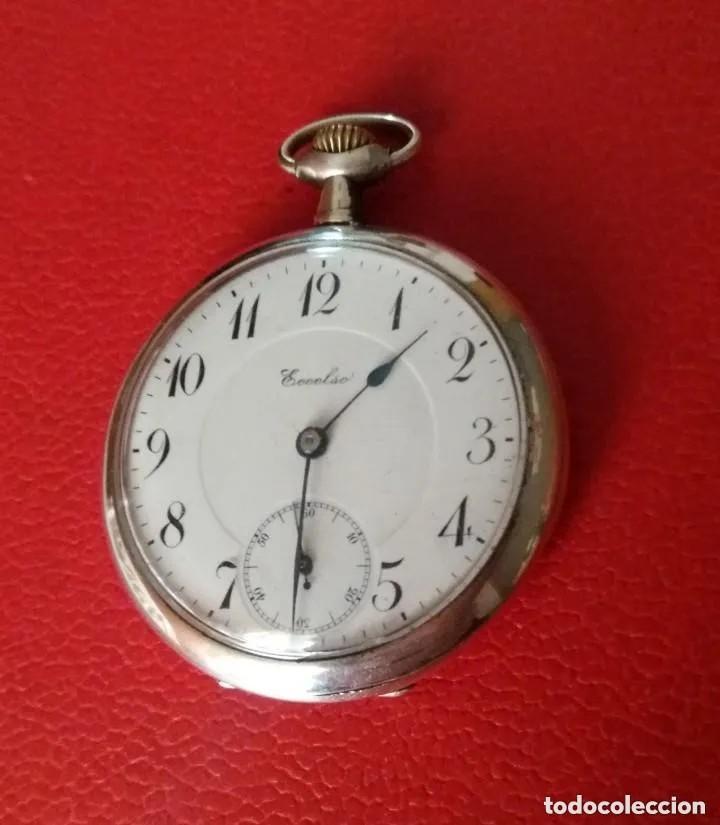 RELOJ BOLSILLO ECCELSO DE PLATA, FUNCIONA PERFECTAMENTE. (Relojes - Bolsillo Carga Manual)