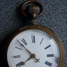 Relojes de bolsillo: GRAN RELOJ DE BOLSILLO TIPO ROSKOPFF - 52 MILÍMETROS LATÓN DORADO. Lote 192006396