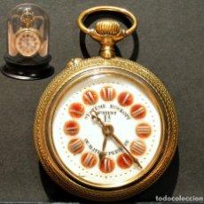 Relojes de bolsillo: ANTIGUO RELOJ DE BOLSILLO CARGA MANUAL ROSKOPF 1ª PATENTE CALIDAD SUPERIOR BAÑO ORO URNA EXPOSITOR. Lote 192016246