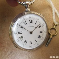Relojes de bolsillo: ANTIGUO RELOJ DE CUERDA DE BOLSILLO DE PLATA DE LLAVE. GILOTEAU A GALLARDON. Lote 192032840