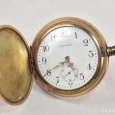 Relojes de bolsillo: WALTHAM SIGLO XIX MAGNIFICO RELOJ BOLSILLO SABONETA BAÑO ORO FUNCIONANDO MEDIDAS 6,5X5,5 CM ,FIRMADO. Lote 192196137
