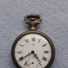 Relojes de bolsillo: RELOJ DE BOLSILLO MARCA REC. CAJA DE METAL LABRADO. CABALLOS. Lote 192552526