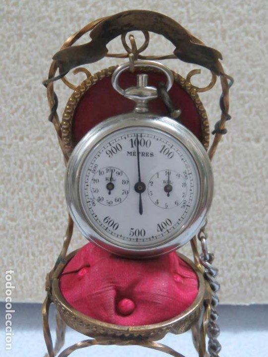 Relojes de bolsillo: RARO RELOJ DE BOLSILLO PODOMETRO CON LEONTINA FINALES DEL XIX - Foto 3 - 192784611