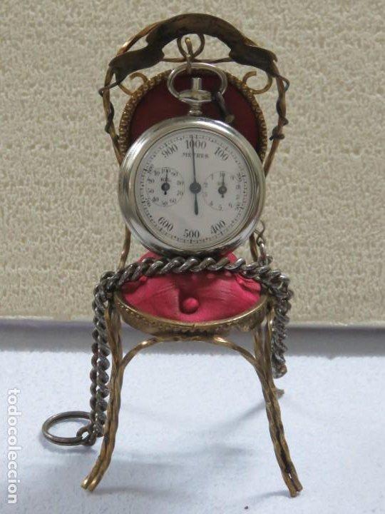 RARO RELOJ DE BOLSILLO PODOMETRO CON LEONTINA FINALES DEL XIX (Relojes - Bolsillo Carga Manual)