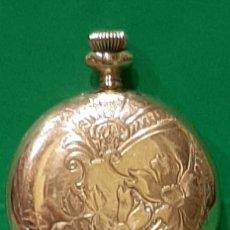 Relojes de bolsillo: ILLINOIS WATCH CASE CO. ELGIN NAPOLEON. CHAPADO EN ORO. 3 TAPAS CON GRABADOS VEGETALES. FUNCIONA.. Lote 194106436