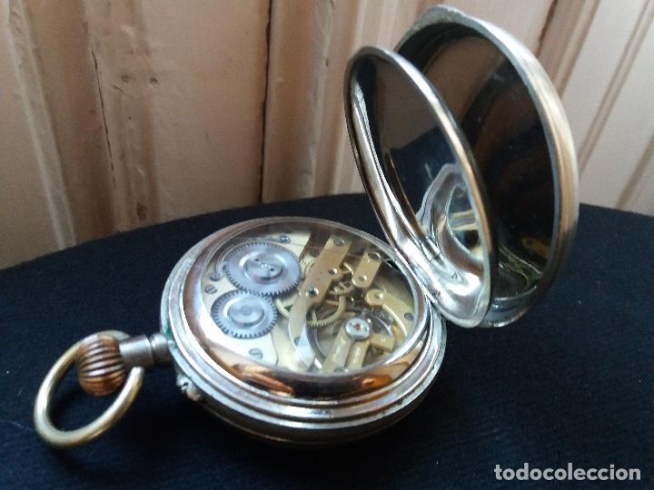 Relojes de bolsillo: RELOJ DE BOLSILLO DE GRAN TAMAÑO, FUNCIONA, LA MAQUINARIA ESTÁ PROTEGIDA POR UNA ESFERA TRANSPARENTE - Foto 4 - 194218040