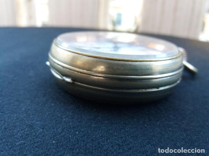 Relojes de bolsillo: RELOJ DE BOLSILLO DE GRAN TAMAÑO, FUNCIONA, LA MAQUINARIA ESTÁ PROTEGIDA POR UNA ESFERA TRANSPARENTE - Foto 8 - 194218040