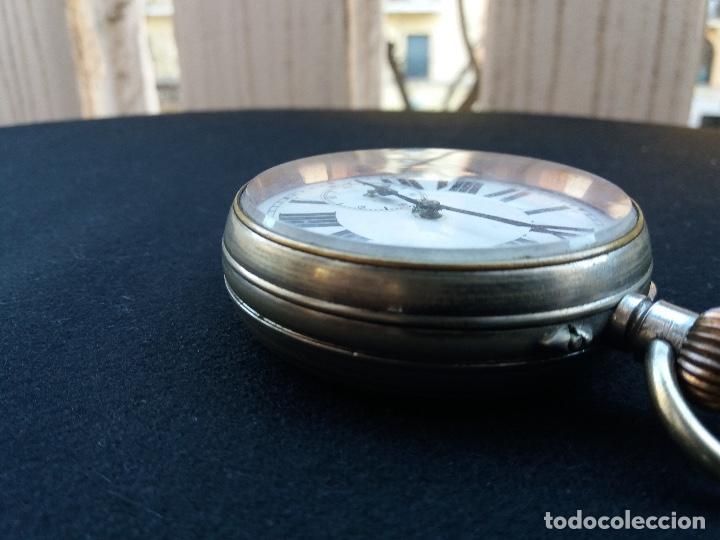 Relojes de bolsillo: RELOJ DE BOLSILLO DE GRAN TAMAÑO, FUNCIONA, LA MAQUINARIA ESTÁ PROTEGIDA POR UNA ESFERA TRANSPARENTE - Foto 9 - 194218040