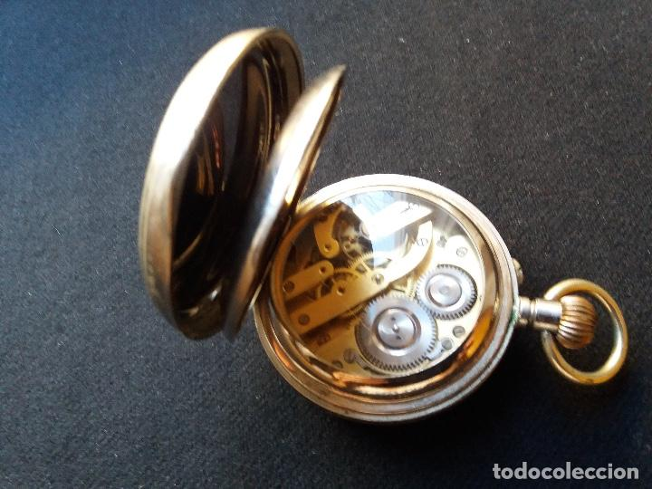 Relojes de bolsillo: RELOJ DE BOLSILLO DE GRAN TAMAÑO, FUNCIONA, LA MAQUINARIA ESTÁ PROTEGIDA POR UNA ESFERA TRANSPARENTE - Foto 11 - 194218040