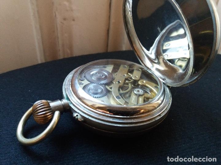 Relojes de bolsillo: RELOJ DE BOLSILLO DE GRAN TAMAÑO, FUNCIONA, LA MAQUINARIA ESTÁ PROTEGIDA POR UNA ESFERA TRANSPARENTE - Foto 13 - 194218040