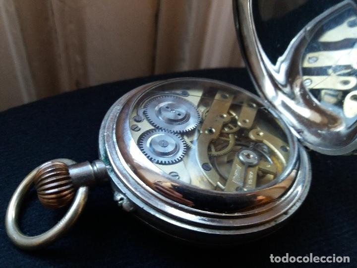 Relojes de bolsillo: RELOJ DE BOLSILLO DE GRAN TAMAÑO, FUNCIONA, LA MAQUINARIA ESTÁ PROTEGIDA POR UNA ESFERA TRANSPARENTE - Foto 16 - 194218040