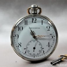 Relojes de bolsillo: JSG CHRONOMETRE RELOJ BOLSILLO DE PLATA. Lote 194337040