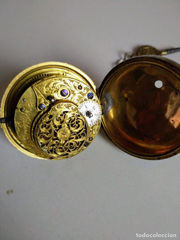 Relojes de bolsillo: Reloj catalino Inglés siglo XVIII - Foto 8 - 194338606