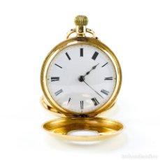 Relojes de bolsillo: RELOJ SUIZO DE COLGAR, HUNTER, MEDIO SABONETA (CAZADOR), REMONTOIR. SUIZA, CA. 1890. ORO 18K.. Lote 194362805