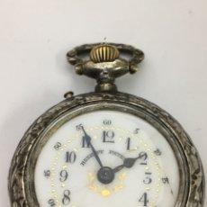 Relojes de bolsillo: RELOJ BOLSILLO ROSKOPF PLATA MACIZA 800 DE UÑERO MODELO GRANDE EN FUNCIONAMIENTO AÑOS 1900. Lote 194393256