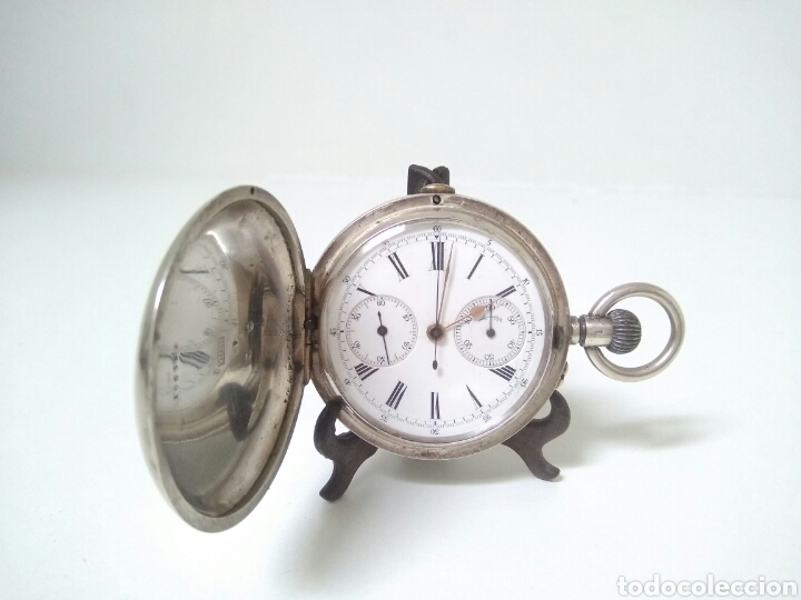 Relojes de bolsillo: CRONOMETRO CRONOGRAFO SUIZO 1892 (SIGLO XIX) GEORGES NICOLET EN SUIZA EN PLATA DE LEY INGLESA AAA - Foto 2 - 194499222