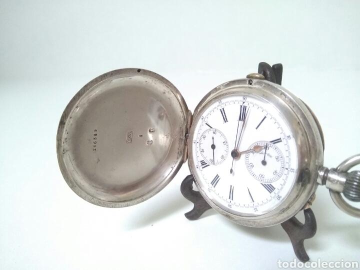 Relojes de bolsillo: CRONOMETRO CRONOGRAFO SUIZO 1892 (SIGLO XIX) GEORGES NICOLET EN SUIZA EN PLATA DE LEY INGLESA AAA - Foto 8 - 194499222
