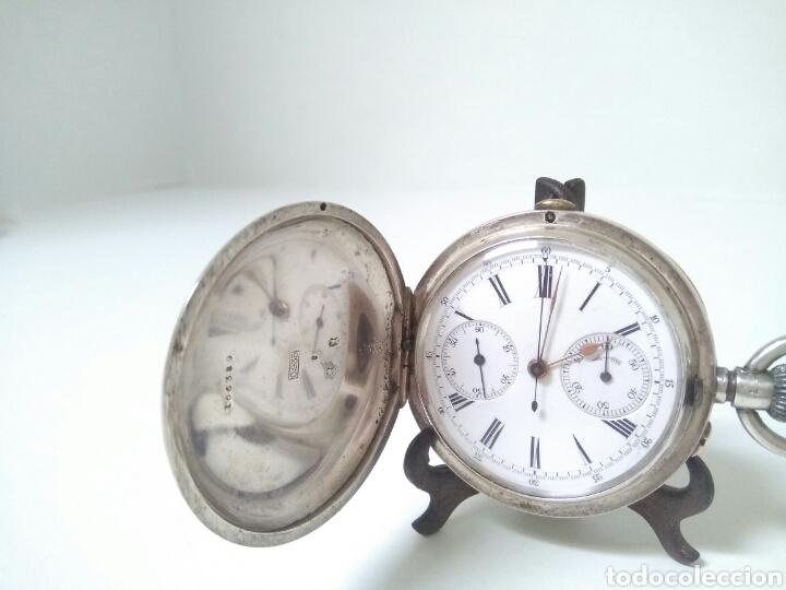 Relojes de bolsillo: CRONOMETRO CRONOGRAFO SUIZO 1892 (SIGLO XIX) GEORGES NICOLET EN SUIZA EN PLATA DE LEY INGLESA AAA - Foto 13 - 194499222
