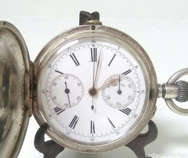 CRONOMETRO CRONOGRAFO SUIZO 1892 (SIGLO XIX) GEORGES NICOLET EN SUIZA EN PLATA DE LEY INGLESA AAA (Relojes - Bolsillo Carga Manual)