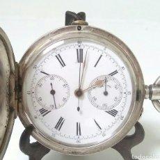 Relojes de bolsillo: CRONOMETRO CRONOGRAFO SUIZO 1892 (SIGLO XIX) GEORGES NICOLET EN SUIZA EN PLATA DE LEY INGLESA. Lote 194499222