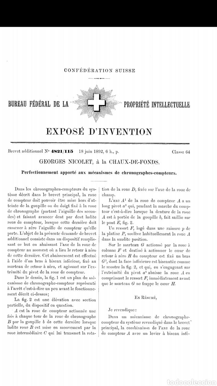Relojes de bolsillo: CRONOMETRO CRONOGRAFO SUIZO 1892 (SIGLO XIX) GEORGES NICOLET EN SUIZA EN PLATA DE LEY INGLESA AAA - Foto 14 - 194499222