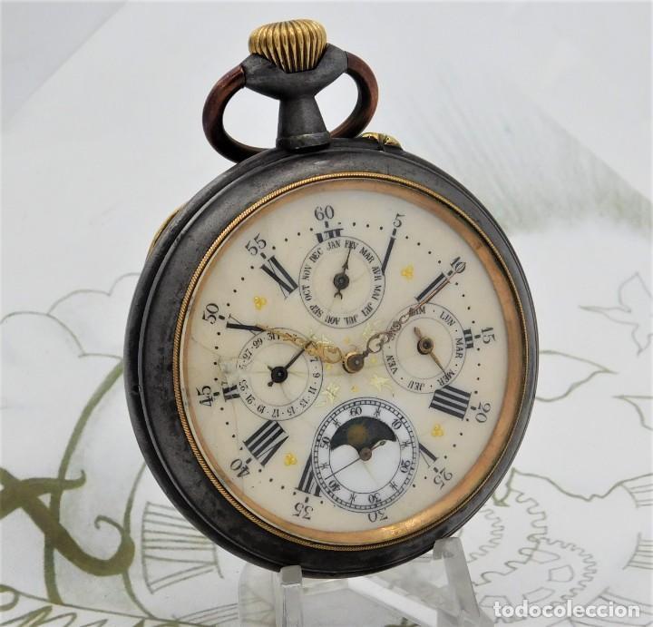 INUSUAL Y GRAN RELOJ DE BOLSILLO-5 ESFERAS-FASE LUNAR-CALENDARIO-CIRCA 1880-FUNCIONANDO TODO (Relojes - Bolsillo Carga Manual)