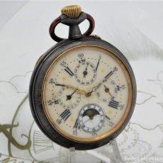 Relojes de bolsillo: INUSUAL Y GRAN RELOJ DE BOLSILLO-5 ESFERAS-FASE LUNAR-CALENDARIO-CIRCA 1880-FUNCIONANDO TODO. Lote 194511193