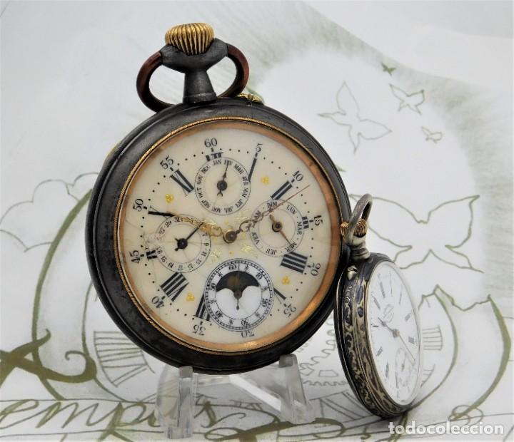 Relojes de bolsillo: INUSUAL Y GRAN RELOJ DE BOLSILLO-5 ESFERAS-FASE LUNAR-CALENDARIO-CIRCA 1880-FUNCIONANDO TODO - Foto 8 - 194511193