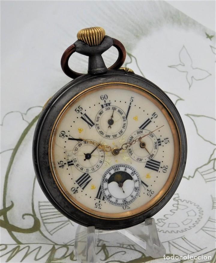 Relojes de bolsillo: INUSUAL Y GRAN RELOJ DE BOLSILLO-5 ESFERAS-FASE LUNAR-CALENDARIO-CIRCA 1880-FUNCIONANDO TODO - Foto 15 - 194511193