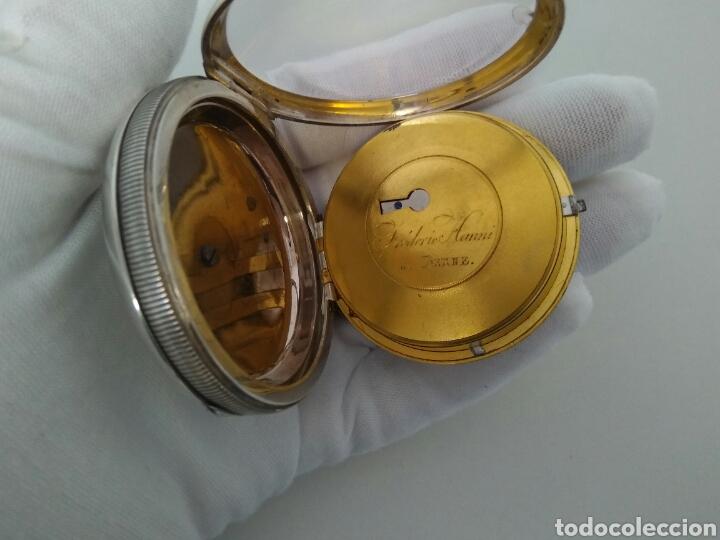 Relojes de bolsillo: LUJO RELOJ CON ALARMA FUNCIONANDO DE BOLSILLO CATALINO PLATA FRÉDÉRIC HANNI A BERNE 1850 SONERIA AAA - Foto 3 - 194519051