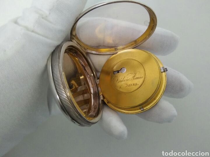 Relojes de bolsillo: LUJO RELOJ CON ALARMA FUNCIONANDO DE BOLSILLO CATALINO PLATA FRÉDÉRIC HANNI A BERNE 1850 SONERIA AAA - Foto 4 - 194519051