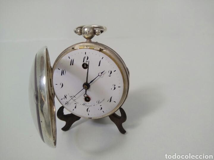 Relojes de bolsillo: LUJO RELOJ CON ALARMA FUNCIONANDO DE BOLSILLO CATALINO PLATA FRÉDÉRIC HANNI A BERNE 1850 SONERIA AAA - Foto 5 - 194519051