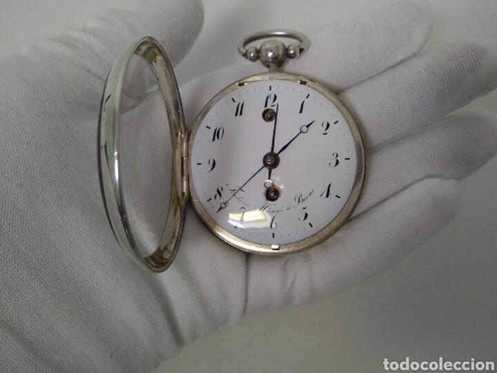 Relojes de bolsillo: LUJO RELOJ CON ALARMA FUNCIONANDO DE BOLSILLO CATALINO PLATA FRÉDÉRIC HANNI A BERNE 1850 SONERIA AAA - Foto 7 - 194519051
