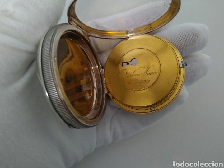 Relojes de bolsillo: LUJO RELOJ CON ALARMA FUNCIONANDO DE BOLSILLO CATALINO PLATA FRÉDÉRIC HANNI A BERNE 1850 SONERIA AAA - Foto 10 - 194519051