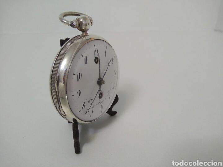 Relojes de bolsillo: LUJO RELOJ CON ALARMA FUNCIONANDO DE BOLSILLO CATALINO PLATA FRÉDÉRIC HANNI A BERNE 1850 SONERIA AAA - Foto 12 - 194519051