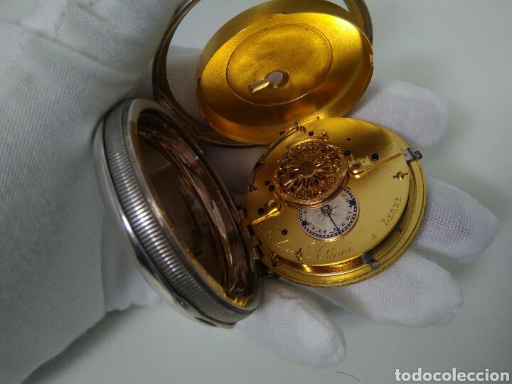 Relojes de bolsillo: LUJO RELOJ CON ALARMA FUNCIONANDO DE BOLSILLO CATALINO PLATA FRÉDÉRIC HANNI A BERNE 1850 SONERIA AAA - Foto 16 - 194519051