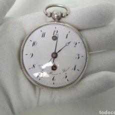 Relojes de bolsillo: IMPRESIONANTE RELOJ FUNCIONANDO DE BOLSILLO CATALINO CON ALARMA PLATA FRÉDÉRIC HANNI A BERNE 1850. Lote 194519051