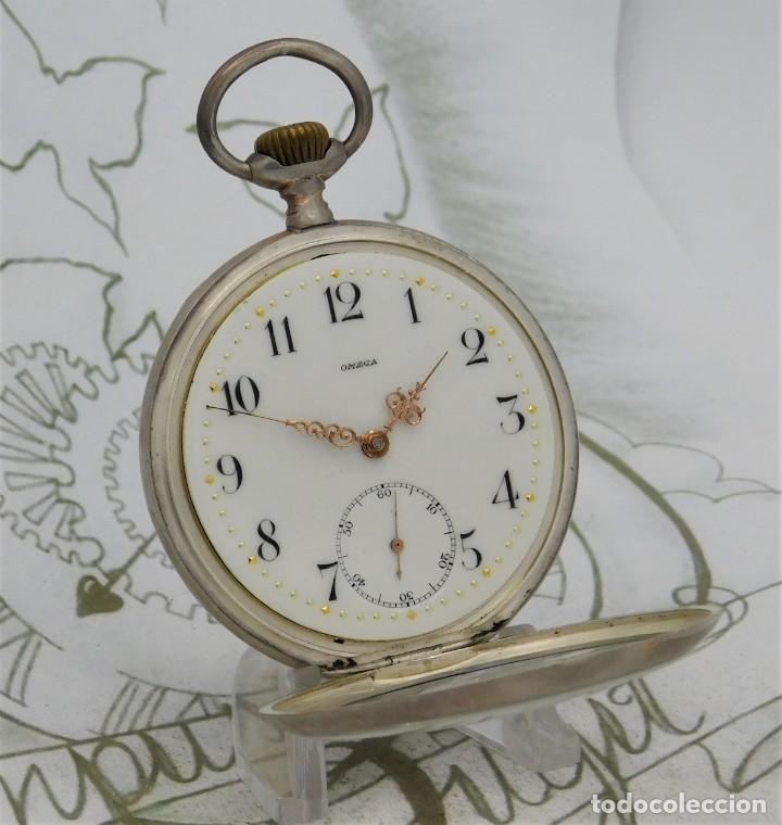 OMEGA-DE PLATA- FANTÁSTICO RELOJ DE BOLSILLO-3 TAPAS-CIRCA 1898-FUNCIONANDO (Relojes - Bolsillo Carga Manual)