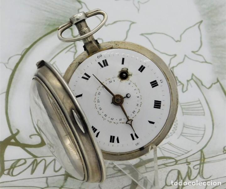 MUY RARO-IMPRESIONANTE RELOJ DE BOLSILLO CON CALENDARIO-DE PLATA-CATALINO-SIGLO XVIII-FUNCIONANDO (Relojes - Bolsillo Carga Manual)