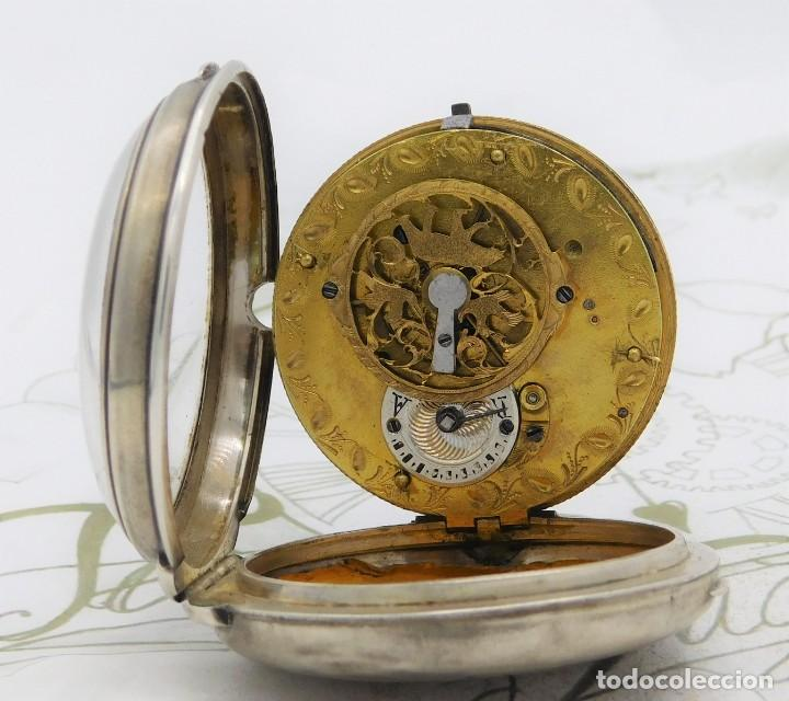 Relojes de bolsillo: MUY RARO-IMPRESIONANTE RELOJ DE BOLSILLO CON CALENDARIO-DE PLATA-CATALINO-SIGLO XVIII-FUNCIONANDO - Foto 3 - 194629906