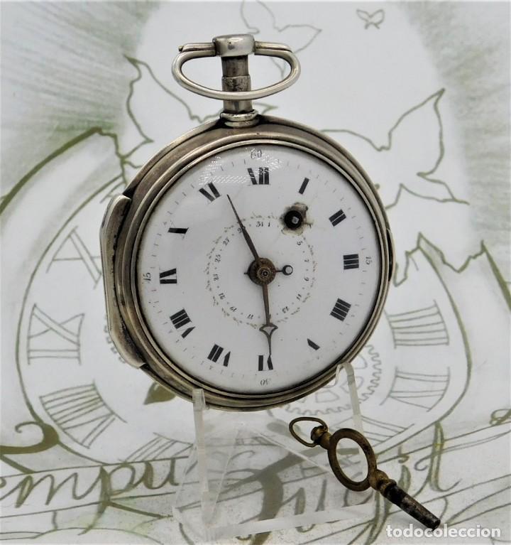 Relojes de bolsillo: MUY RARO-IMPRESIONANTE RELOJ DE BOLSILLO CON CALENDARIO-DE PLATA-CATALINO-SIGLO XVIII-FUNCIONANDO - Foto 4 - 194629906