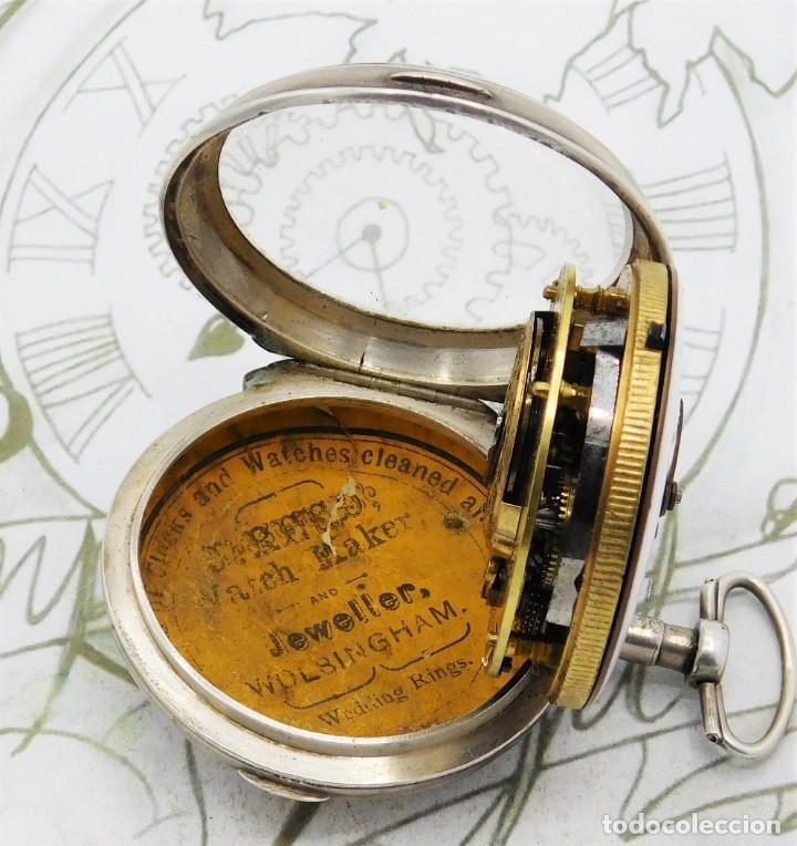Relojes de bolsillo: MUY RARO-IMPRESIONANTE RELOJ DE BOLSILLO CON CALENDARIO-DE PLATA-CATALINO-SIGLO XVIII-FUNCIONANDO - Foto 5 - 194629906